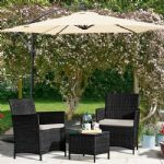 RATTAN 3 PC BLACK BISTRO SET !!! REDUCED ONLY FEW LEFT